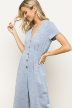 Load image into Gallery viewer, V NECK BUTTON FRONT MID LENGTH JUMPSUIT Lt Denim Blue