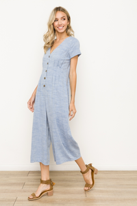 V NECK BUTTON FRONT MID LENGTH JUMPSUIT Lt Denim Blue