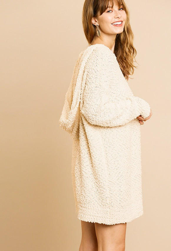long sleeve, hooded sweater dress. Fuzzy, cream color