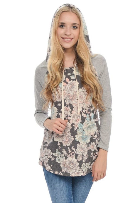 hooded baseball style shirt, long sleeve, floral bodice, heather grey sleeves, draw string on hood.