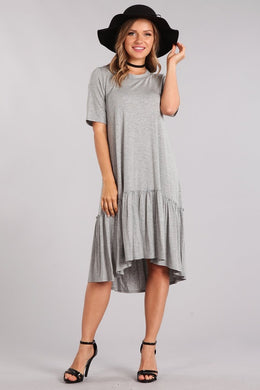 T-shirt dress with short sleeves, high low hem and heather grey color.