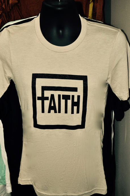 Military Tan shirt with word Faith printed on front in black lettering