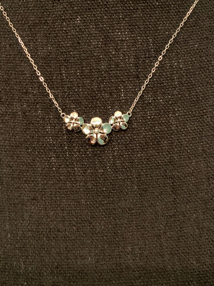 Sterling Silver Triple Plumeria Necklace
