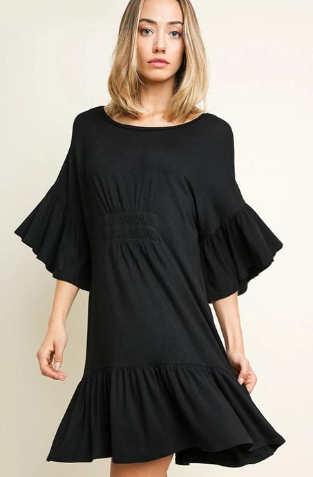 black dress, bell sleeve, ruffle hem, scoop neck