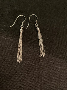 Sterling Silver Hanging Chains Earrings