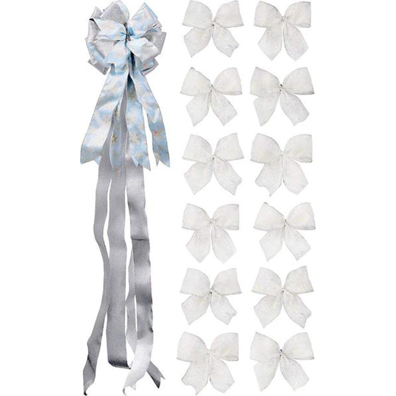 Handmade 13-Piece Christmas/Holiday Bow Bundle - with 1 16-Loop 50in X 10in TreeTopper - 12 2-Loop Sheer Wired Snowflake Ribbon Bows
