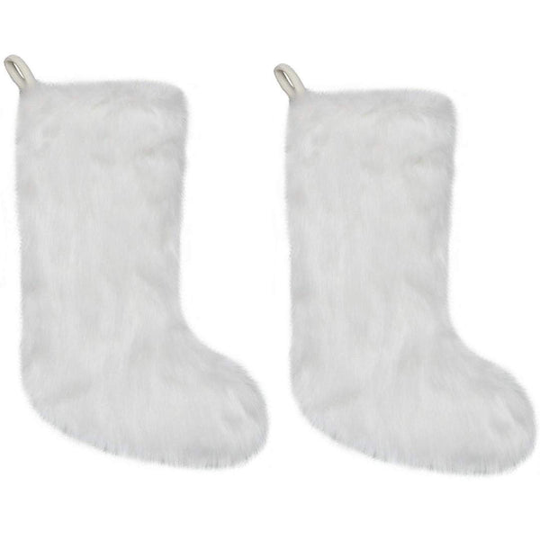New Traditions Faux Fur White Slimline Christmas Stocking, Set of 2