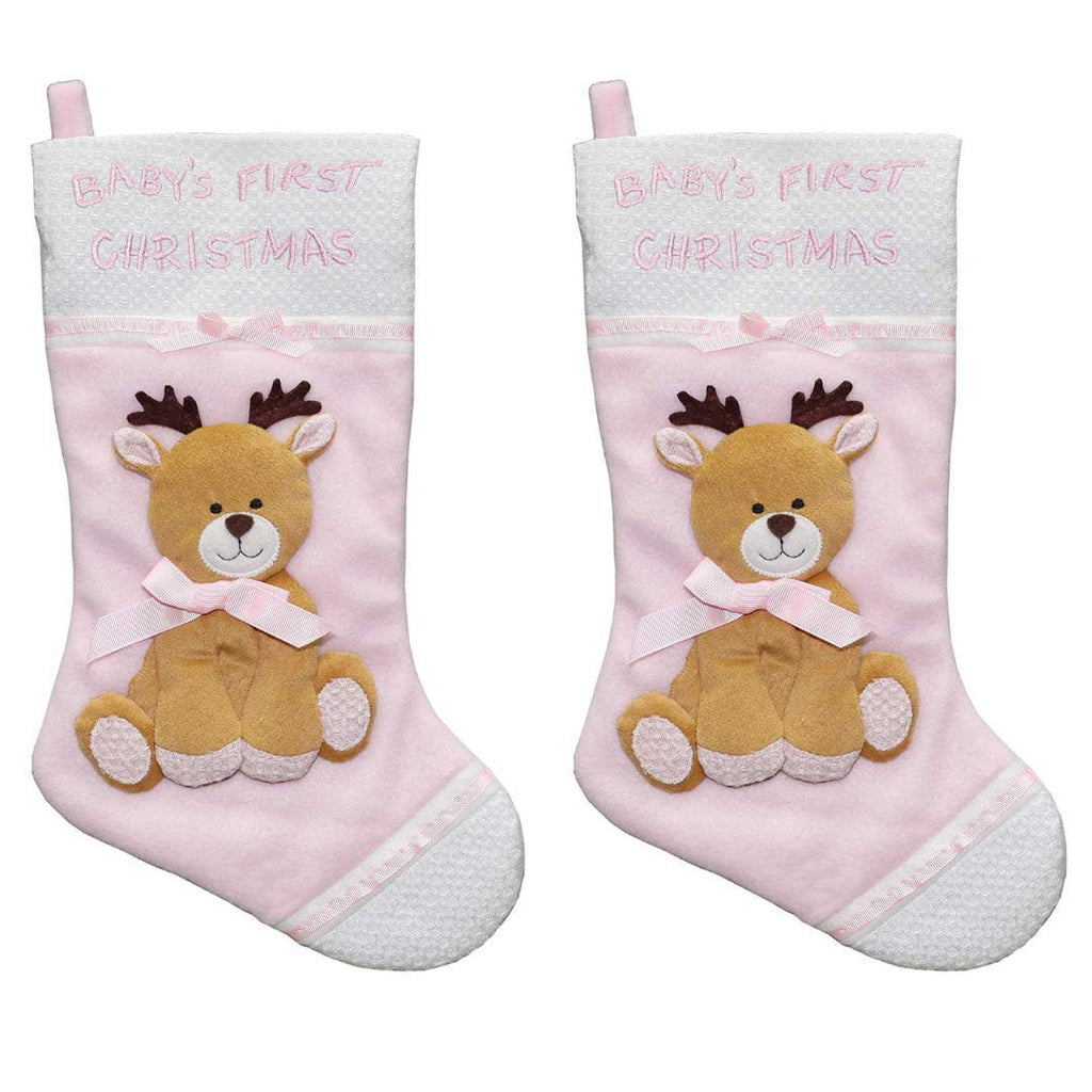 New Traditions 2-PC Set of 16 in Fleece Baby's First Christmas Stocking with Reindeer Applique (Pink)