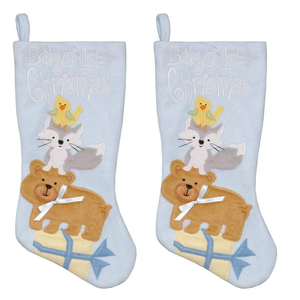New Traditions 2PC Set of 16 in Plush Baby's First Stocking with Animal Characters and Present (Blue)