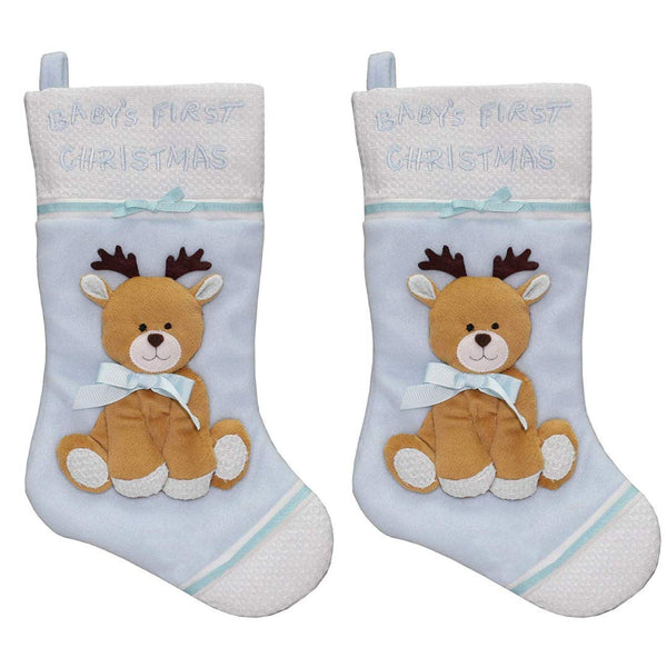 New Traditions 2-PC Set of 16 in Fleece Baby's First Christmas Stocking with Reindeer Applique (Blue)