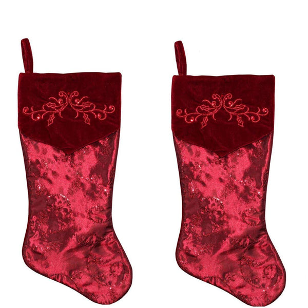New Traditions 2-Pack - 19 inch Satin Stocking with Sequin Embroidery and Velvet Front FOLD Over BV-Cuff with Embroidery-Burgundy