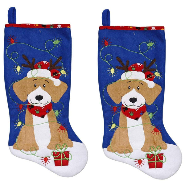 New Traditions 2PC Set of 19 in Fleece Pet Stocking (Blue)