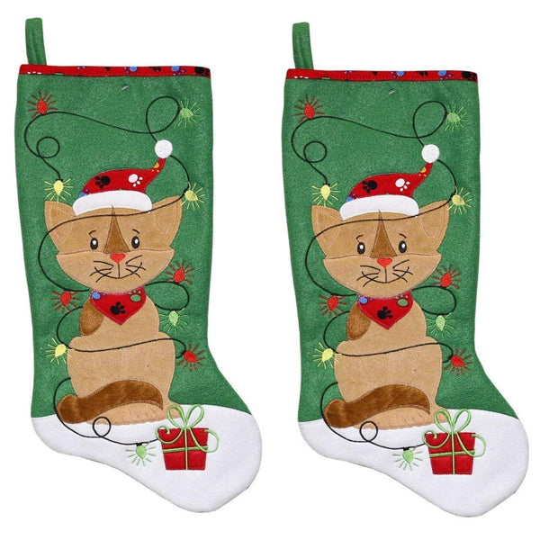 New Traditions 2PC Set of 19 in Fleece Pet Stocking (Green)