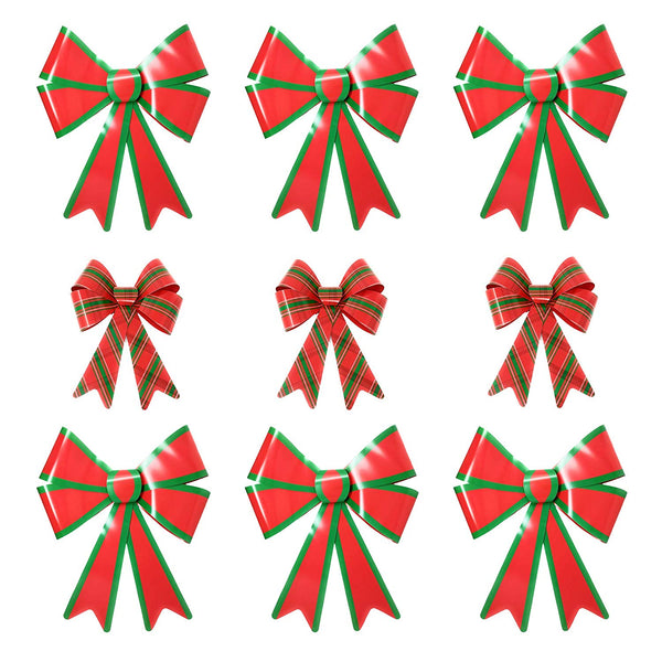 "Red & Green Christmas Decorative Bow Bundle - Set of 3 Medium Plaid PVC Bows (11"" x 14"") and 6 Large PVC Bows (19"" x 24"")"