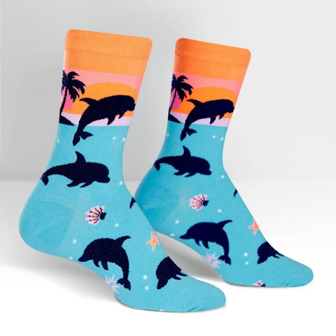 Dolphin-Paradise-Novelty-Crew-Animal-Socks-for-Women-Wildlife-Wardrobe
