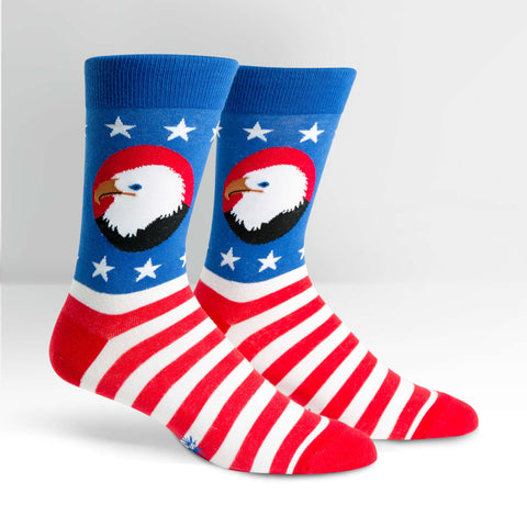 Brave-Bald-Eagle-Patriotic-America-Novelty-Crew-Animal-Socks-for-Men-and-Women-Wildlife-Wardrobe