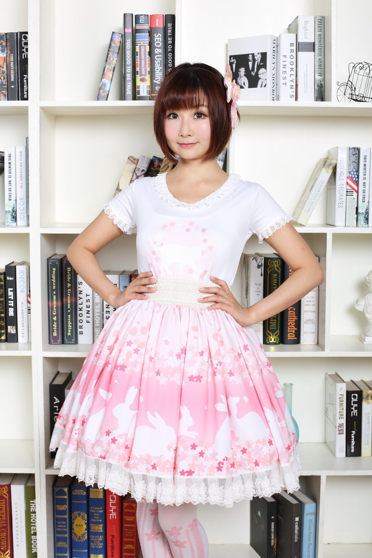8c43424bbe0fb g 209 Pink Bunny & Cherry blossoms Print Lolita Skirt Soft Sister Cart