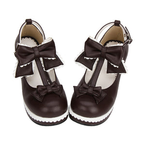 ec0413e8d35f g 102 Japanese Sweet Lolita Shoes Brown Leather High Heel Platform Princess  Pumps with Bows and