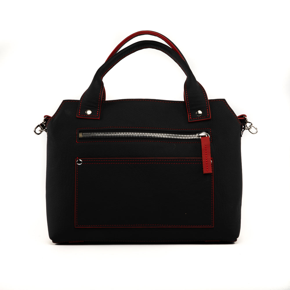 Beaubien Purse, Black with Red Accent