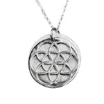 SEED OF LIFE STERLING SILVER W. DIAMOND NECKLACE