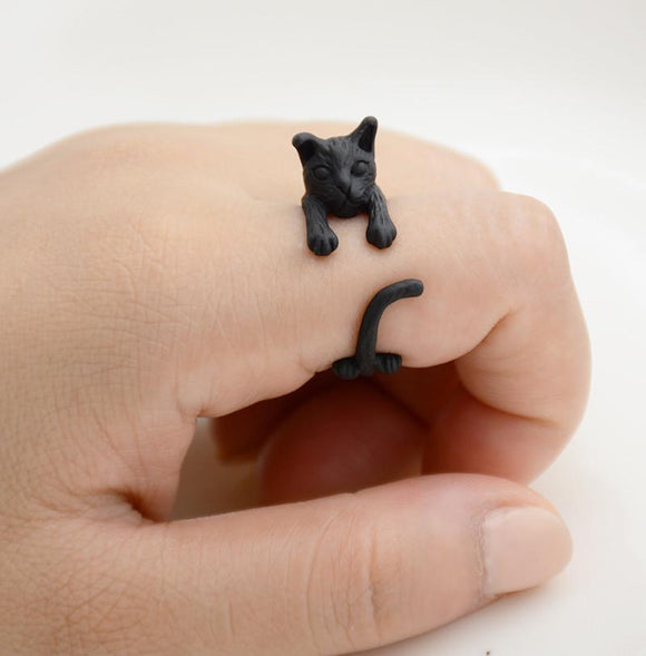 Handcrafted Cat Wrap Rings