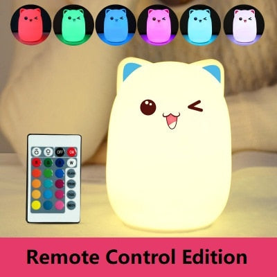 Colorful Cute Cat LED Bedroom Lamp