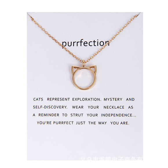 Purrfection Cat Ear Valentines Necklace Jewelry