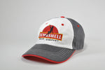 Embroidered Red Gray White Hat