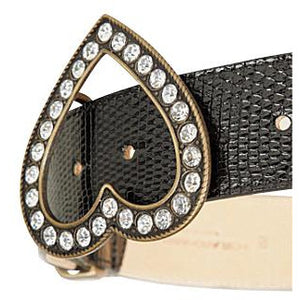 Brama Crystal-Embellished Lizard-Leather Belt
