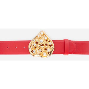 Classic Red Leather Belt Gold Buckle