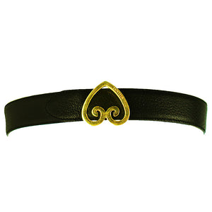 Gold Brama Buckle with Dark Green Leather Belt