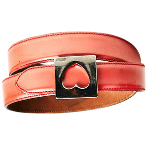 Black Steel Brama Buckle with Red Leather Belt