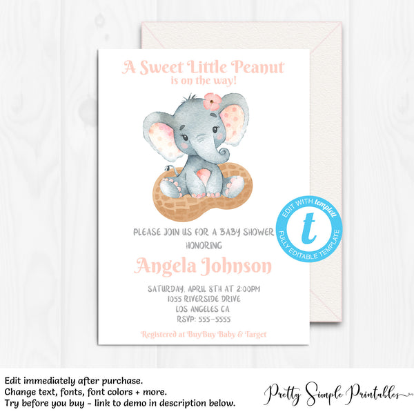 Elephant Baby Shower Invitation Girl Little Peanut Elpp