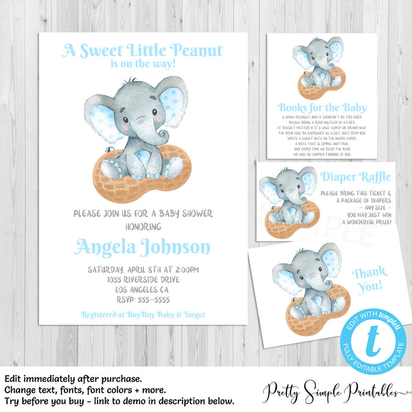 Elephant Baby Shower Invitation Bundle Boy Little Peanut Elpb
