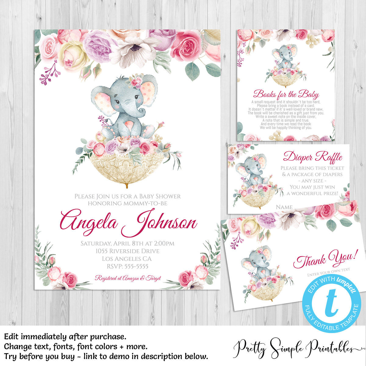 Girl Elephant Baby Shower Invitation Bundle Floral And Lace Umbrella Pretty Simple Printables