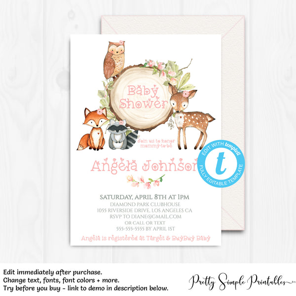 Girl Woodland Baby Shower Invitation Wd05 Pretty Simple Printables