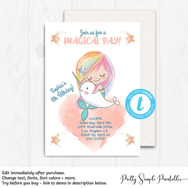 Narwhal Mermaid Birthday Invitation Nar1