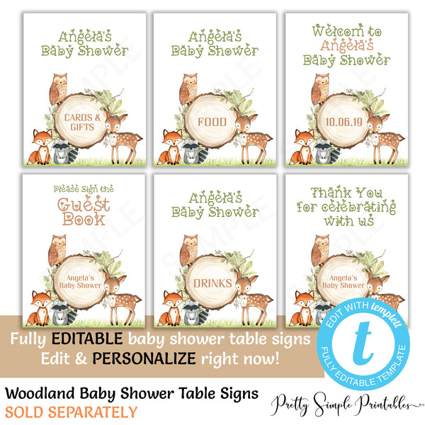 Woodland Baby Shower Due Date Calendar Wd02 Pretty Simple Printables