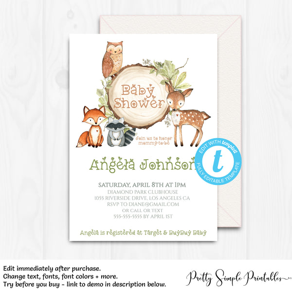 Woodland Baby Shower Invitation Wd02 Pretty Simple Printables