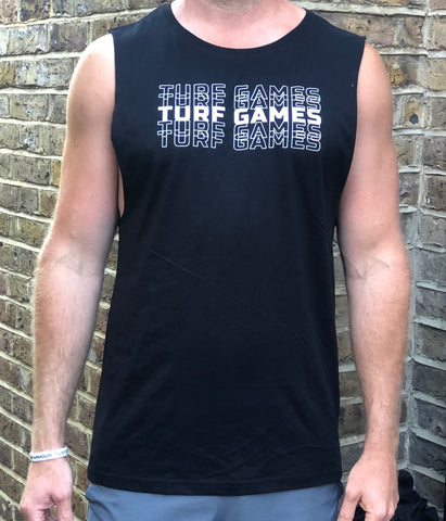 Men's Black Turf Games Stacked Logo Tank