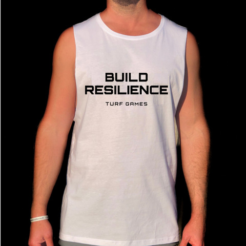 Men's White Turf Games Build Resilience Tank