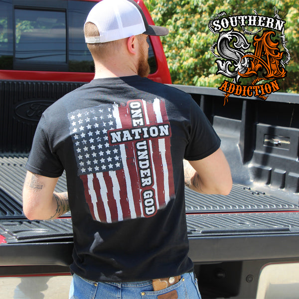 6144 - Southern Addiction One Nation Under God T Shirt