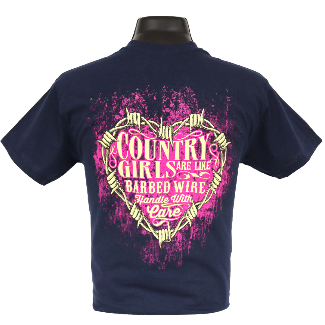 7048 - Southern Addiction Country Girls Are Like Barbed Wire T Shirt