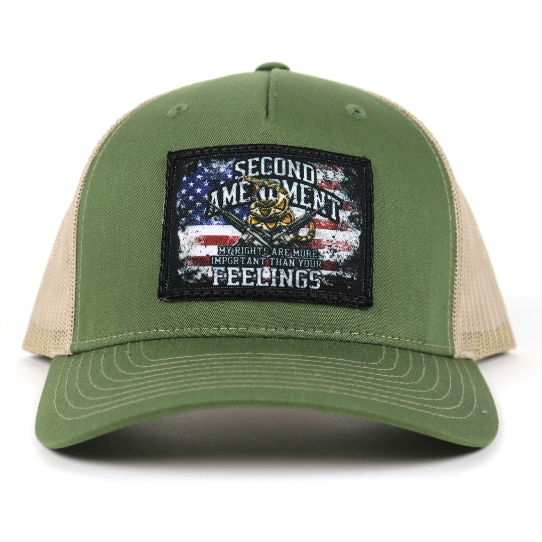 SA110 - Army Olive Green/Tan Rights vs. Feelings Patch Cap