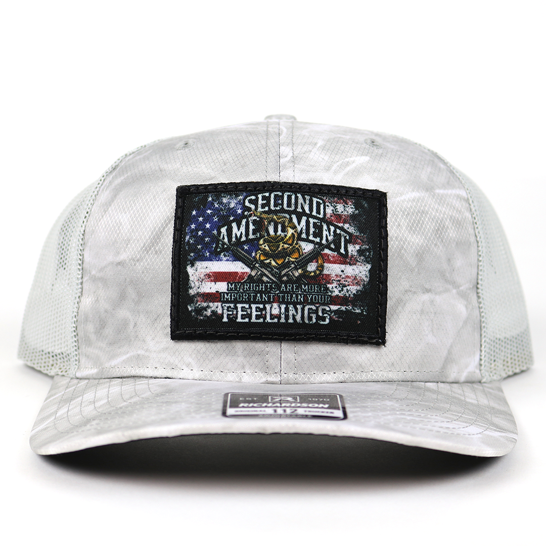 SA111 - Mossy Oak Elements Bonefish/Light Grey Rights vs. Feelings Patch Cap