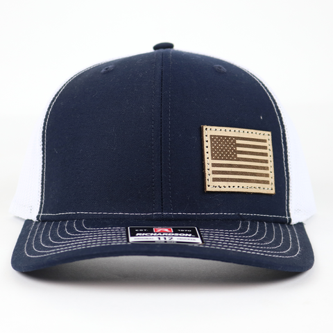 SA112 - Navy/White Light Leather American Flag Patch Cap