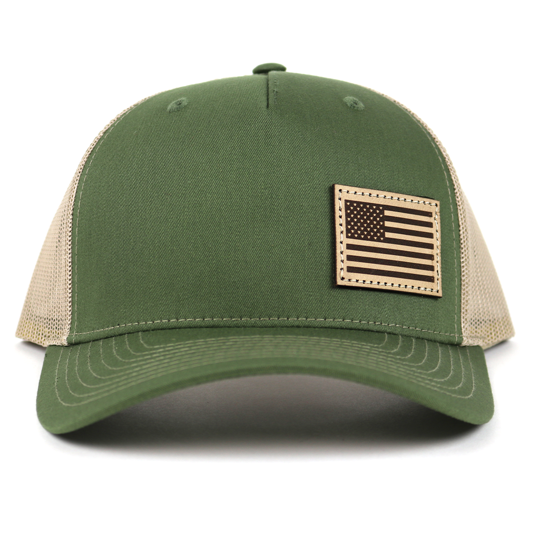 SA115 - Army Olive Green/Tan Light Leather American Flag Patch Cap