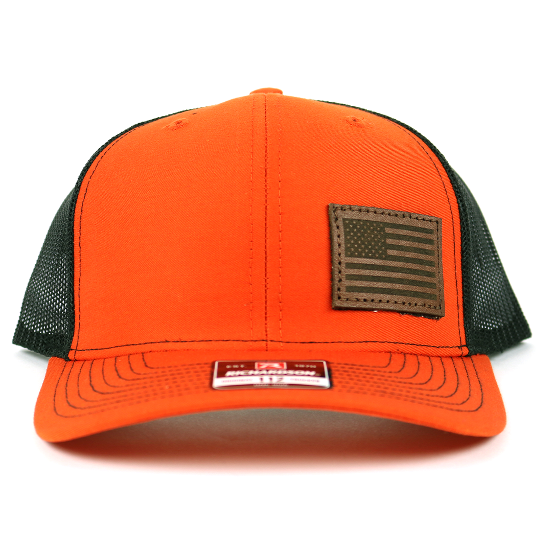 SA117 - Orange/Blk Chocolate Leather American Flag Patch Cap