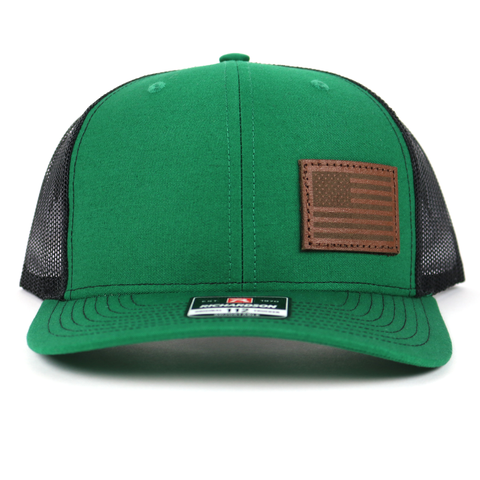 SA118 - Kelly Green/Blk Chocolate Leather American Flag Patch Cap