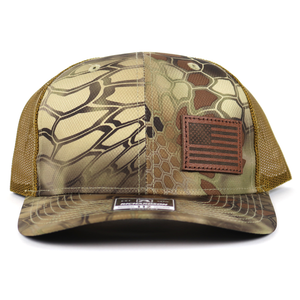 SA119 - Kryptek Highland/Buck Chocolate Leather American Flag Cap
